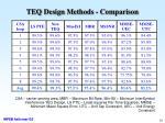 teq design methods comparison