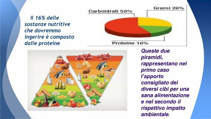 Il 16% delle sostanze nutritive che dovremmo ingerire è composto dalle proteine