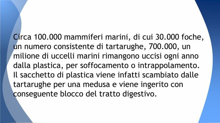 Circa 100.000 mammiferi marini, di cui 30.000 foche, un numero consistente di tartarughe, 700.000, un milione di uccelli marini rimangono uccisi ogni anno dalla plastica, per soffocamento o intrappolamento. Il sacchetto di plastica viene infatti scambiato dalle tartarughe per una medusa e viene ingerito con conseguente blocco del tratto digestivo.