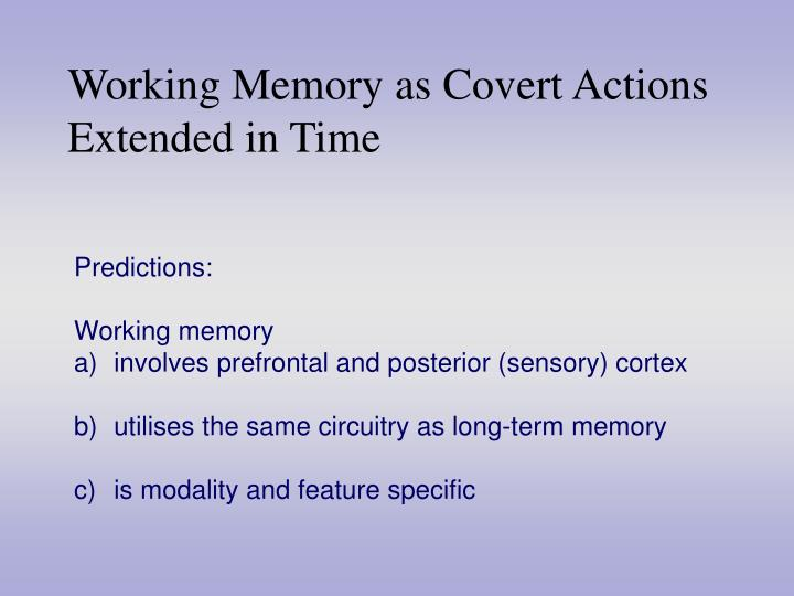 Working Memory as Covert Actions Extended in Time