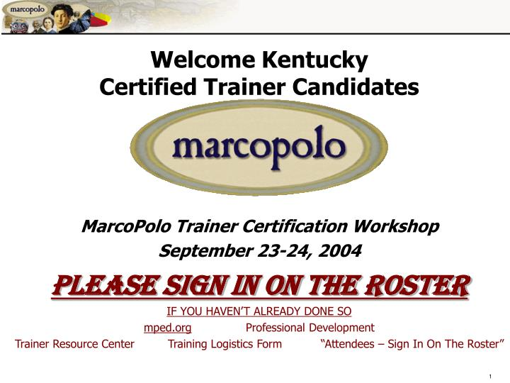 welcome kentucky certified trainer candidates n.