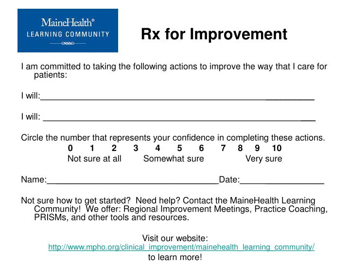 Rx for Improvement
