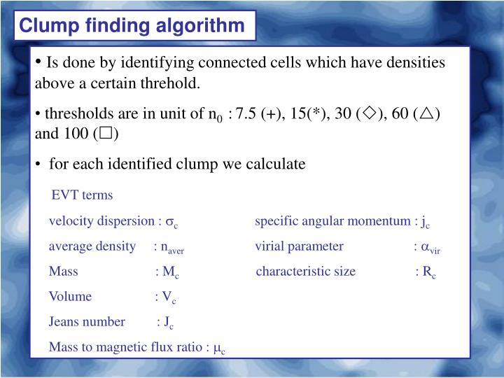 Clump finding algorithm