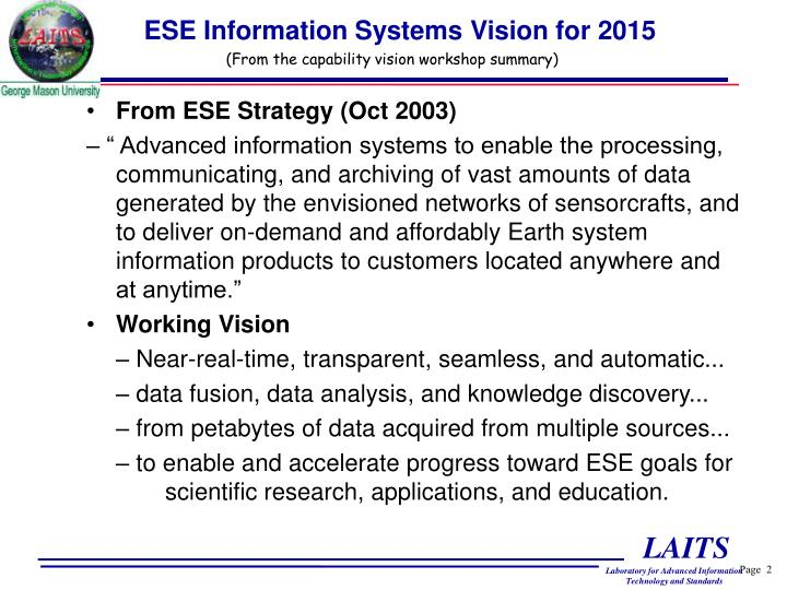 Ese information systems vision for 2015