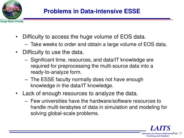 Problems in Data-intensive ESSE