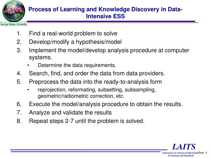 Process of Learning and Knowledge Discovery in Data-Intensive ESS