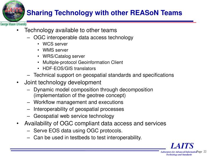 Sharing Technology with other REASoN Teams