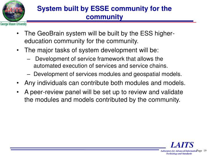 System built by ESSE community for the community