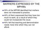 barriers expressed by the mphws