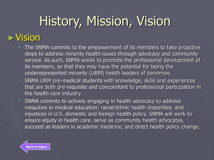 History, Mission, Vision