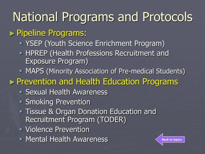 National Programs and Protocols