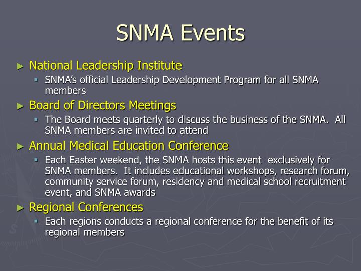 SNMA Events