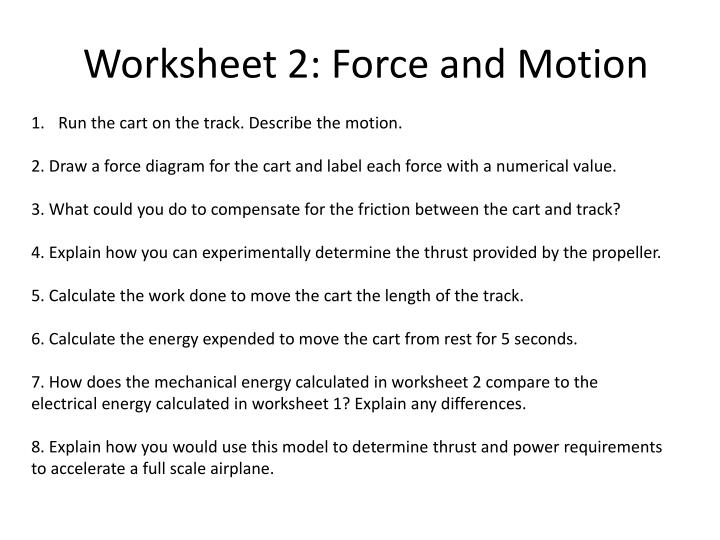 Worksheet 2: Force and Motion