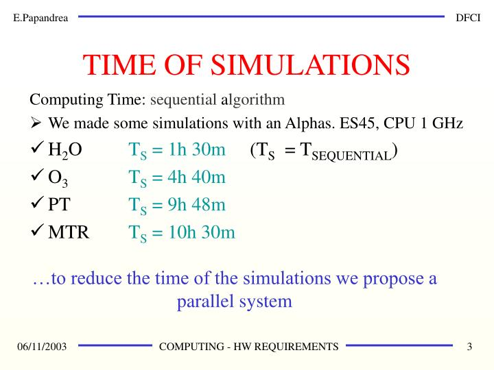 Time of simulations