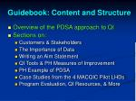 guidebook content and structure