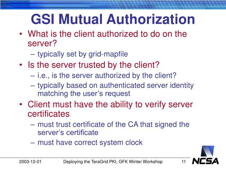 GSI Mutual Authorization