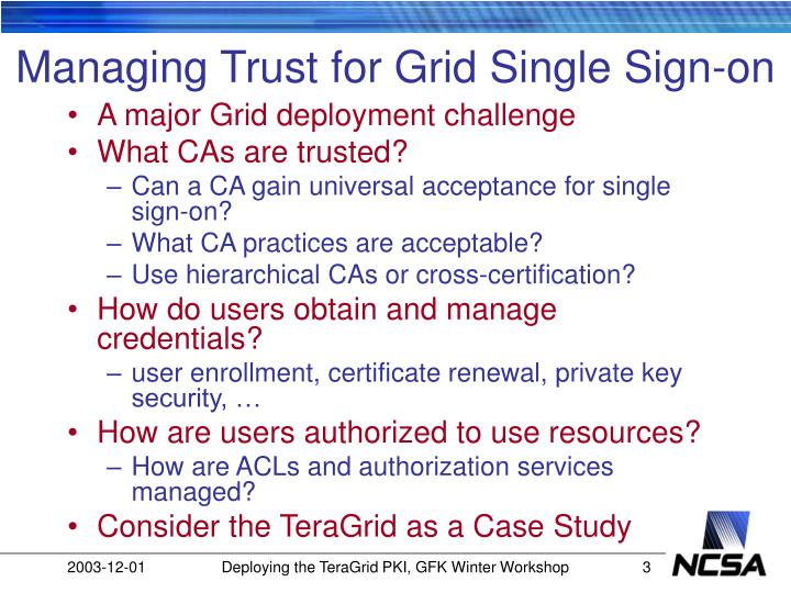 Managing trust for grid single sign on