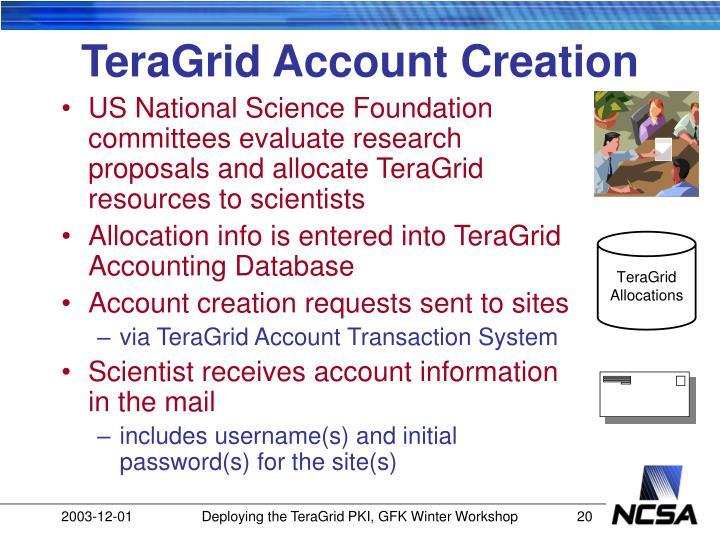 TeraGrid Account Creation