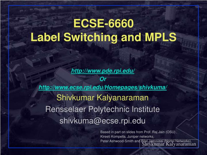 ecse 6660 label switching and mpls n.
