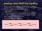 summary basic rsvp path signaling
