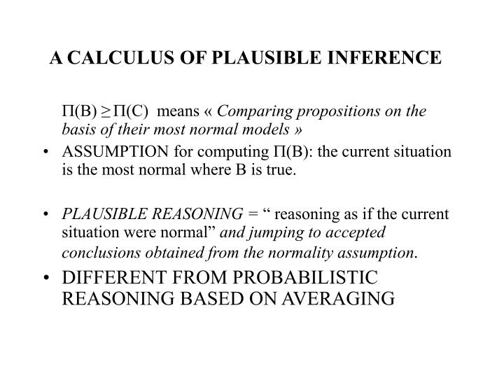 A CALCULUS OF PLAUSIBLE INFERENCE