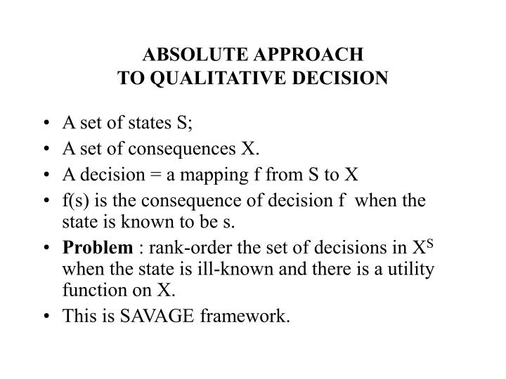 ABSOLUTE APPROACH