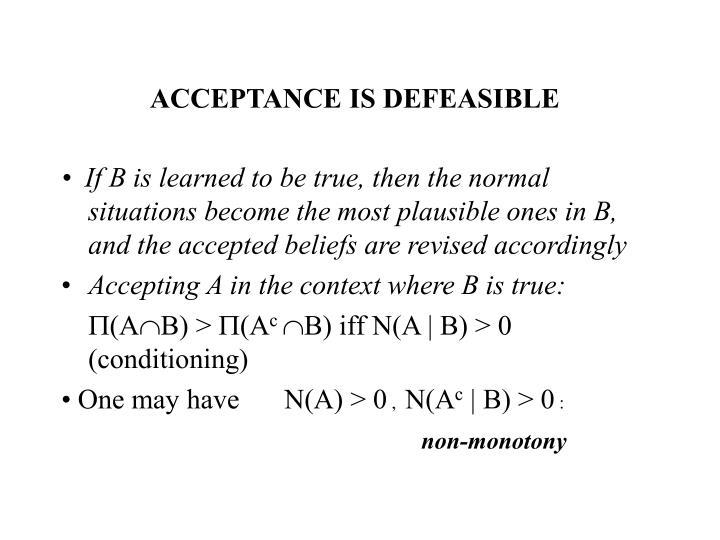 ACCEPTANCE IS DEFEASIBLE