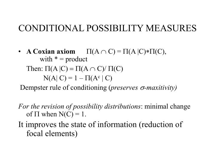 CONDITIONAL POSSIBILITY MEASURES