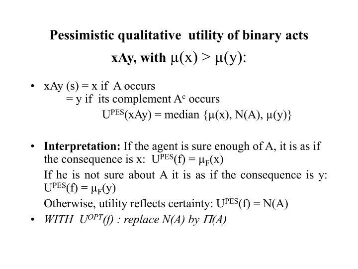 Pessimistic qualitative  utility of binary acts