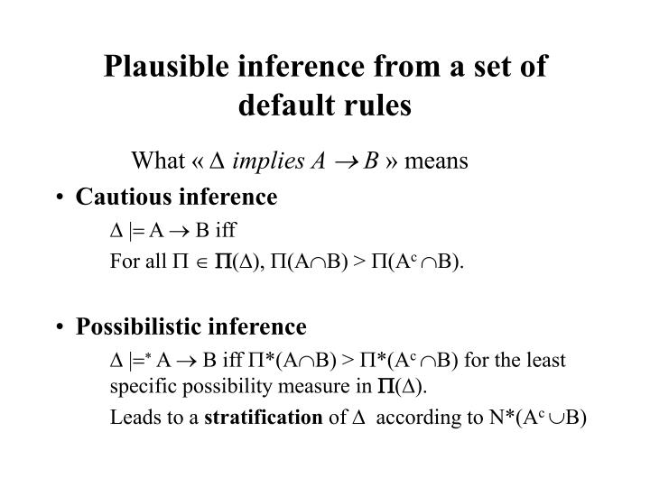 Plausible inference from a set of default rules