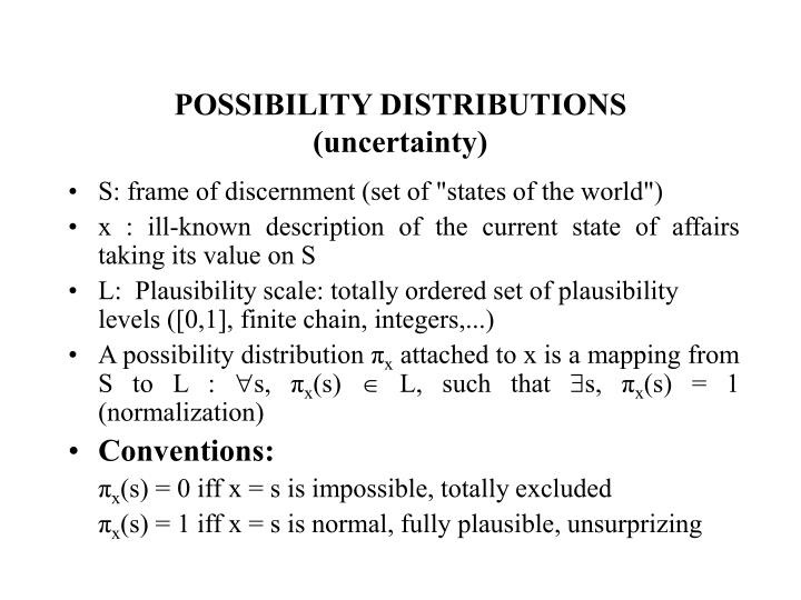 POSSIBILITY DISTRIBUTIONS