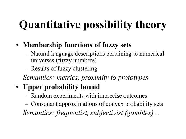 Quantitative possibility theory