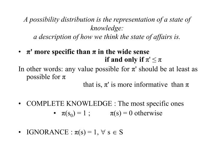 A possibility distribution is the representation of a state of knowledge: