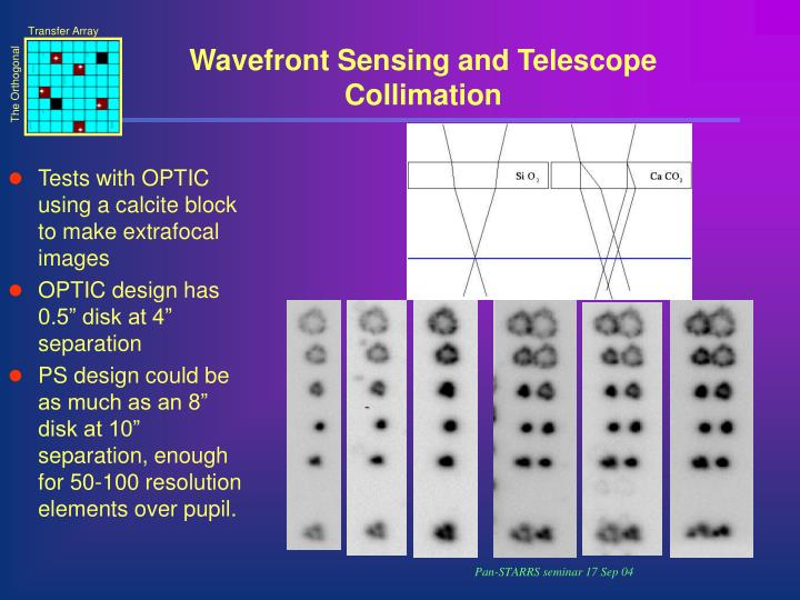 Wavefront Sensing and Telescope Collimation