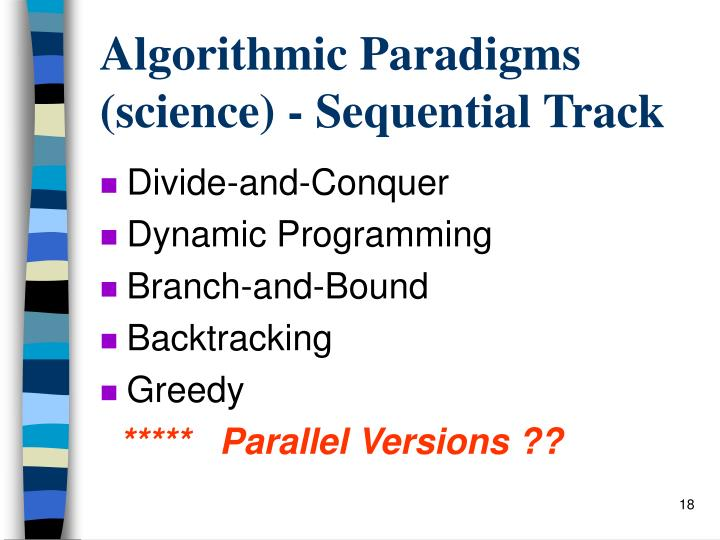 Algorithmic Paradigms (science) - Sequential Track