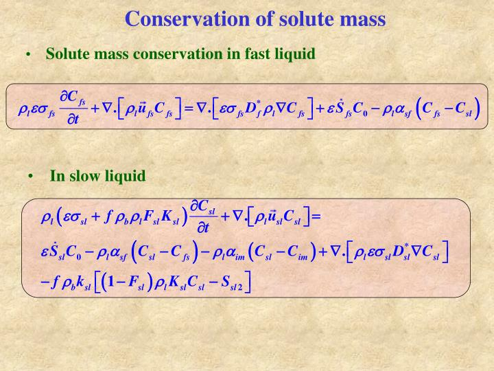 Conservation of solute mass