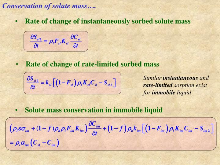 Conservation of solute mass….