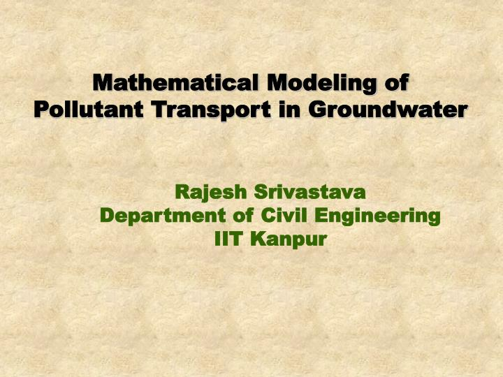 Mathematical Modeling of