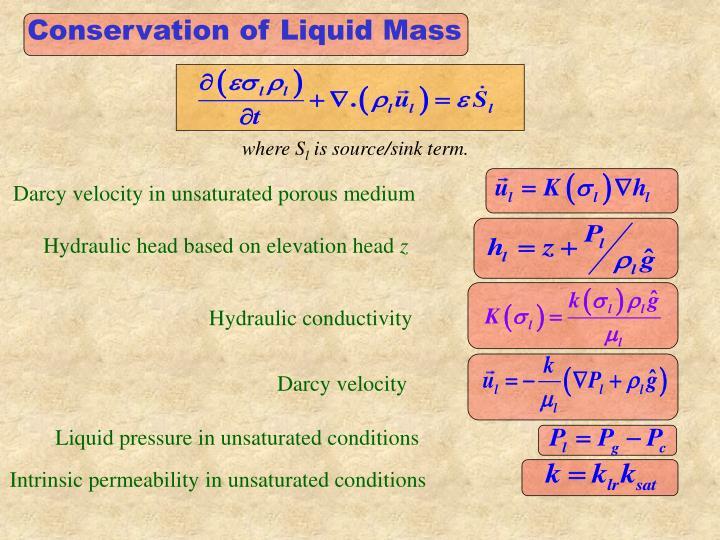 Conservation of Liquid Mass