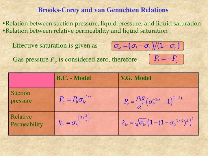 Brooks-Corey and van Genuchten Relations