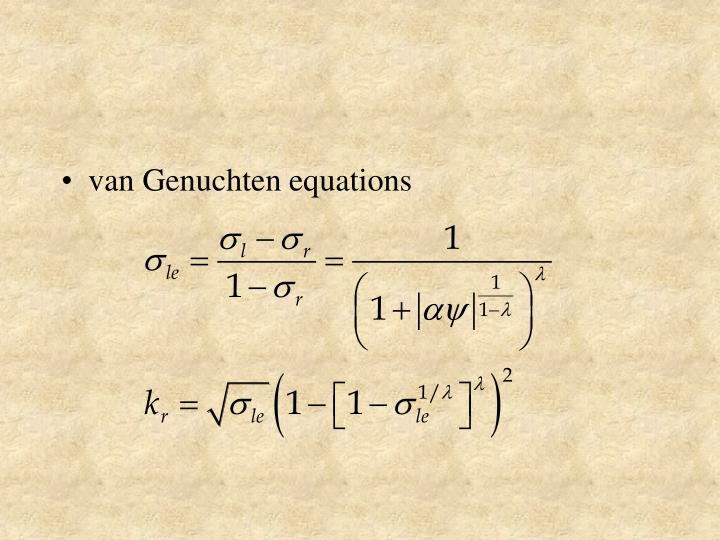 van Genuchten equations