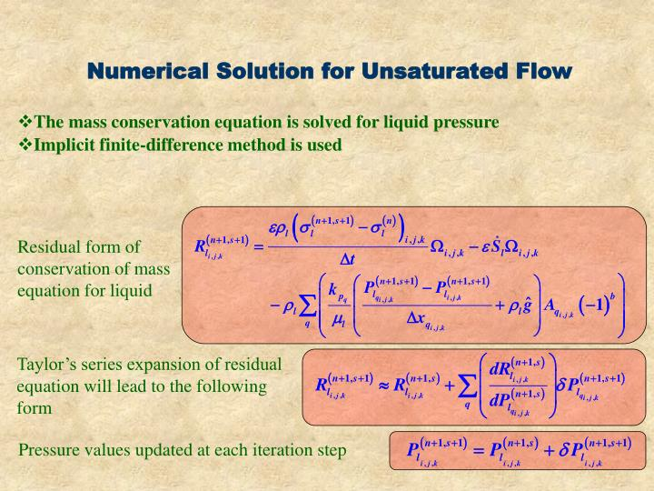 Numerical Solution for Unsaturated Flow