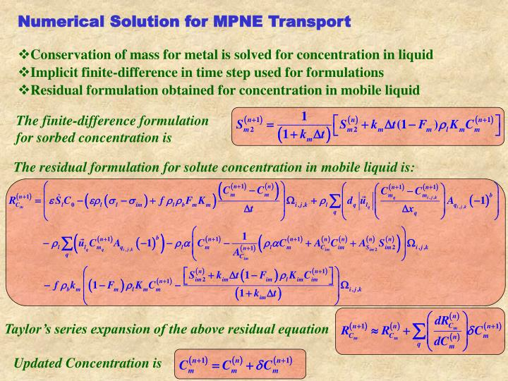 Numerical Solution for MPNE Transport