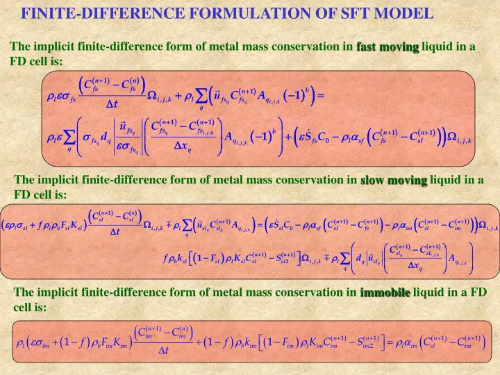 FINITE-DIFFERENCE FORMULATION OF SFT MODEL