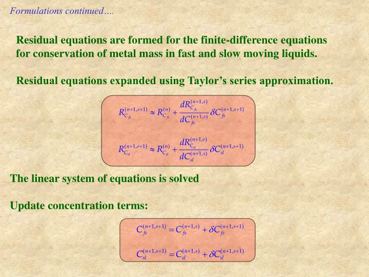Formulations continued….