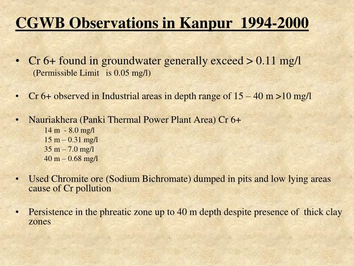 CGWB Observations in Kanpur  1994-2000