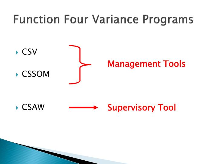 Function Four Variance Programs
