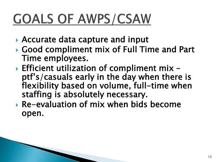 GOALS OF AWPS/CSAW