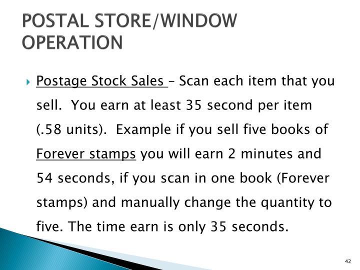 POSTAL STORE/WINDOW OPERATION