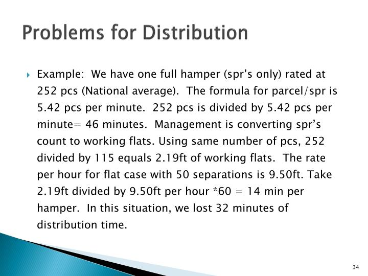 Problems for Distribution